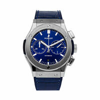 Hublot Classic Fusion Chrono Auto 45mm Titanium Mens Strap Watch 521.NX.7170.LR