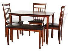 Dining Kitchen 5 PC SET Rectangular Table 3 Warm Chairs Bench Dark Walnut
