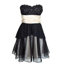 BETSEY JOHNSON Black Lace Champagne Strapless Tulle Full Skirt Cocktail Dress 4