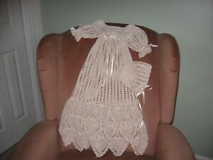New Handmade Crocheted Ecru Christening Gown with Bonnet