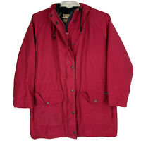 Woolrich Womans Medium Red Wool Lined Hooded Hiking Barn Field Jacket Vintage