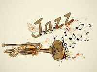 ART PRINT POSTER PAINTING DRAWING MUSIC THEMED TRUMPET JAZZ TYPOGRAPH LFMP1073