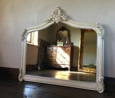 ANTIQUE WHITE CREAM FRENCH  SHABBY CHIC OVER MANTLE ARCHED TOP WOOD WALL MIRROR