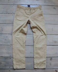 Women's Vintage GANT REGULAR CROPPED Zip Fly Beige Cotton Trousers UK12 W30 L28