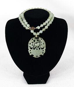 Chinese Vintage Translucent Celadon Jade Pendant Necklace Hand Carved