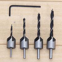 4pcs svasatore punta per trapano a vite lavorazione legno 3-6mm smusso uten IE