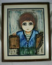Roger ETIENNE Big Eyes PAINTING Collage Framed French Multimedia Art MCM 1960s