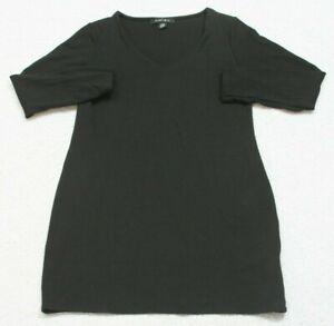 AMISU Black V-Neck Tee T-Shirt Top Long Sleeve Rayon Polyester Elastane WS61