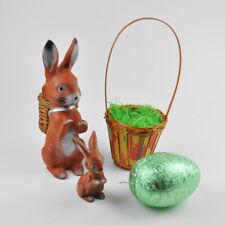Vintage Easter Decoration - Old - Rabbit Rubber Basket Egg Cardboard Bunny
