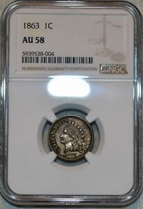 NGC AU-58 1863 Indian Head Cent, Sharp, lustrous specimen.