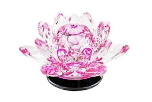 LARGE PINK  Crystal LOTUS Flower Ornament Home Decor Manual Rotate Round