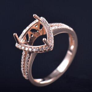 Trillion 11MM Natural Diamond Women Engagement Ring Setting Solid 14K Rose Gold