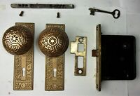 Antique Set EASTLAKE VICTORIAN AESTHETIC Backplates Door Knob Mortise Lock w Key