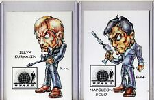 MAN FROM UNCLE TV SERIES (2 CARDS) ART PRINTS NAPOLEON SOLO ILLYA KURYAKIN RAK