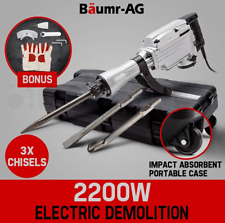 2200W Demolition Jackhammer Commercial Grade Chisel Concrete Tool 3 x Chisels