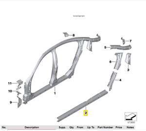GENUINE BMW 5 SERIES G30 F90 M5 G31 RIGHT LOWER DOOR SILL ENTRY REINFORCEMENT