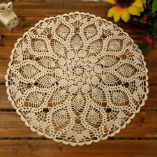 Table Placemats Crochet Doilies Lace Round Cotton Doily For Tables 20 Inch Beige