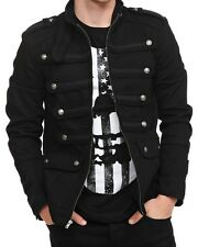 New  Men Black Guard Military Jacket Steampunk Vintage Pea Coat 100% Cotton