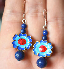 Cloisonne sunflowers Earring-925 Silver New ! 4-8mm Natural Lapis
