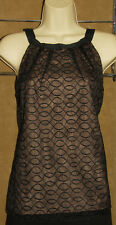 KENAR - Classic Black & Nude  100% Pure SILK & Sheer Embroidered BLOUSE sz 6 NEW