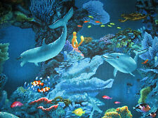 DOLPHINS SEA TURTLE REEF CORAL SEA LIFE BLUE COTTON FABRIC FQ