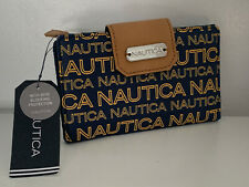 NEW! NAUTICA CLOSE REACH TAB INDEXER YELLOW NAVY BLUE WALLET W/ RFID $35 SALE