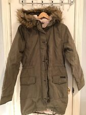 NWT Abercrombie And Fitch Women Olive Sherpa Lined Military Parka Coat S $200