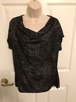 Kenneth Cole Dressy Top Womens Size Large Black Semi Sheer Short Sleeve Nwt