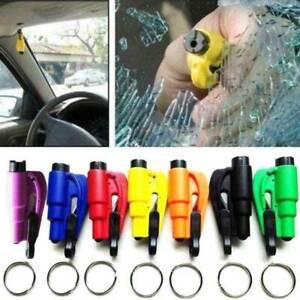 3 in1 Glass Hammer Car Breaker Tool Emergency Window Seat Belt Cutter Key Chain
