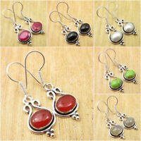 925 Silver Plated Natural CARNELIAN & Many Other Variation To Pick Earrings