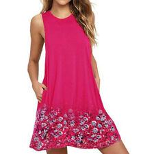 Plus Size Lady Boho Sleeveless Party Tops Womens Loose Summer Beach Flower Dress