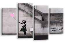 Le Reve Banksy Canvas Art Balloon Girl Black Grey White Pink Graffiti Splits