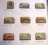 LOT OF 9 OLD GIBRALTAR STAMPS, QEII SG144-153 ALL MINT