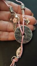 """Set ~ Pink Key Good Luck Charm """"Beautiful Girl"""" Child Teen Earrings & Necklace"""