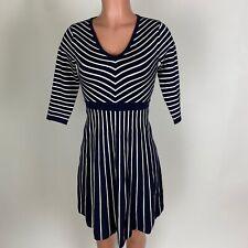 Boden Womens Dress Knit Blue White Stripe V Neck Size 2P