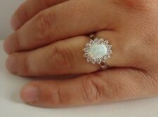 925 STERLING SILVER LADIES OVAL HALO RING W/ 1.50 CTS OPAL/DIAMONDS/SIZE 5 - 9