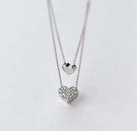 HOT 925 Silber Damen Herz Doppelkette Halskette Anhänger Charm Kette Collier
