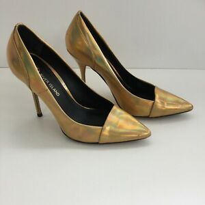 Ladies Sexy Gold Iridescent Pointed High Heel Court Shoes Size uk7 Pumps