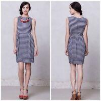 Karen Walker Runaway Anthropologie Blue Striped Tulip Dress Size 8 Sleeveless