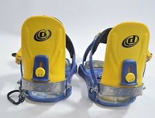 DRAKE SNOWBOARD BINDINGS $30 XS yellow blue hardware USED