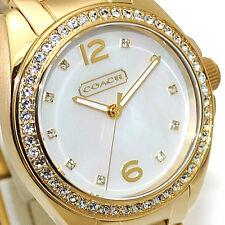 NWT Coach Womens Watch Gold SS Bracelet TRISTEN Swarovski & MOP 14501657 $250