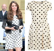 "Topshop Cream Avorio Nero Bianco e Nero a Pois a puntini Skater Dress 14 ""Tall Aso"
