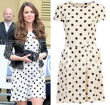 TOPSHOP cream ivory black monochrome polka dot spotted skater dress 14 TALL ASO
