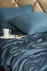 Bamboo king size bed fitted sheet. 100% bamboo, Teal. Antibacterial.