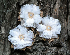 Set of 3 Hessian Rustic Burlap Roses Cake topper White Wedding Flowers