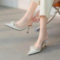 Womens Trendy Pointy Toe Bowknot Rivet Slingbacks Kitten Mid Heels Sandals Shoes