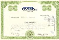 Avtek Corp > 1972 Rhode Island share stock certificate
