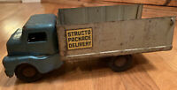Vintage Structo 1950's Pressed Steel Package Delivery Truck Rare Blue Cab