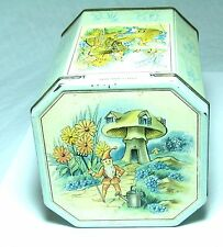 SUPER VINTAGE ANTIQUE HUNTLEY&PALMERS BISCUIT TIN FEATURING GNOMES ELVES 1950S
