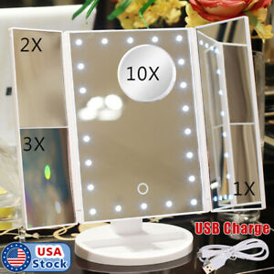Tri-Fold Vanity Makeup Mirror 22 LED Lighted 10X Magnifying Folding Cosmetic